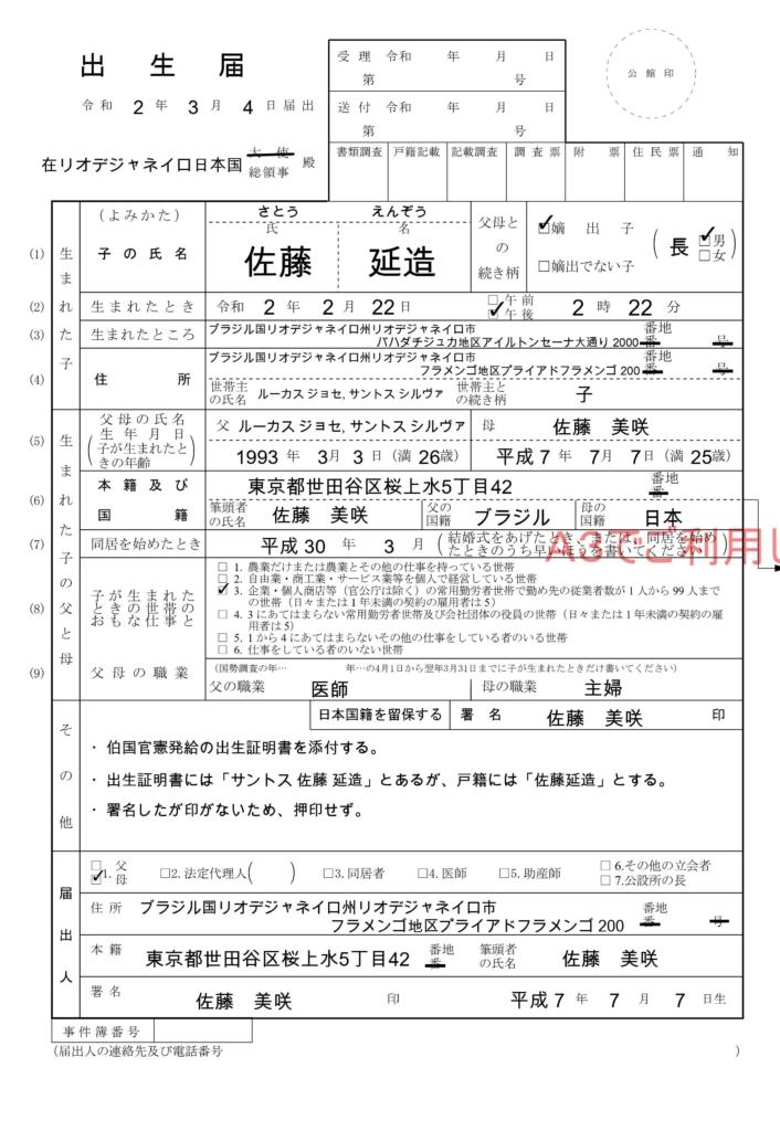 海外提出用の出生届(記入例)